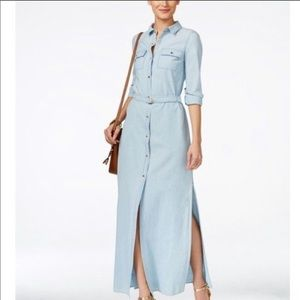 MICHAEL Michael Kors Chambray Maxi Shirt Dress